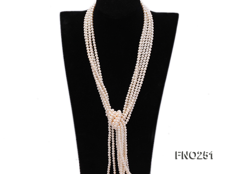 5-6mm white round freshwater pearl five-strand necklace big Image 3