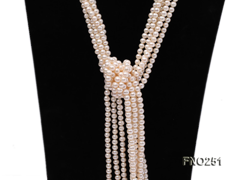 5-6mm white round freshwater pearl five-strand necklace big Image 4