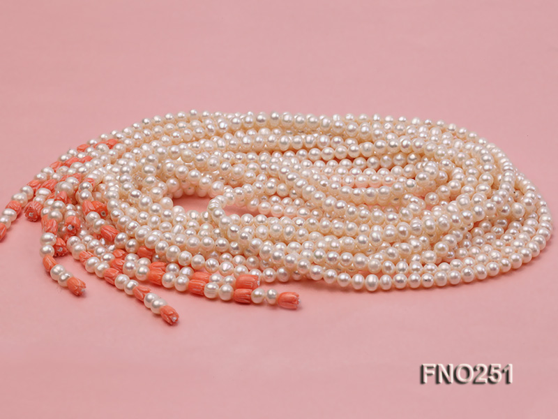 5-6mm white round freshwater pearl five-strand necklace big Image 5