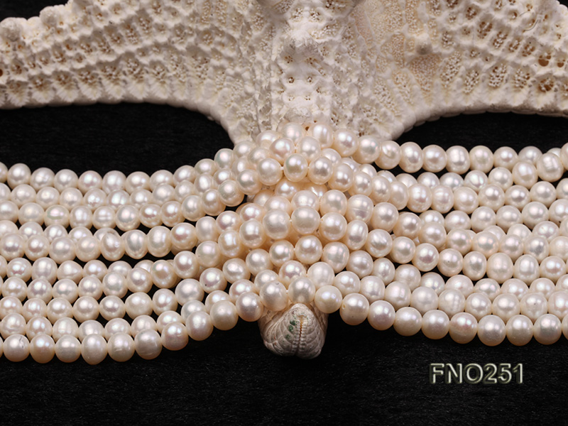5-6mm white round freshwater pearl five-strand necklace big Image 6