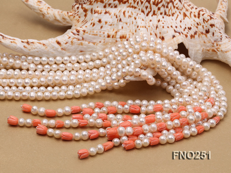 5-6mm white round freshwater pearl five-strand necklace big Image 7