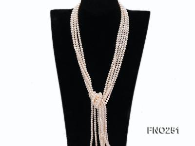5-6mm white round freshwater pearl five-strand necklace FNO251 Image 3