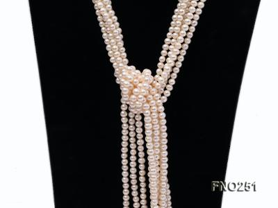 5-6mm white round freshwater pearl five-strand necklace FNO251 Image 4
