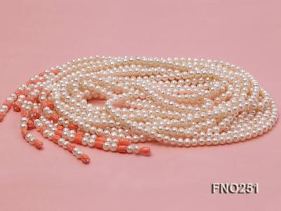 5-6mm white round freshwater pearl five-strand necklace FNO251 Image 5