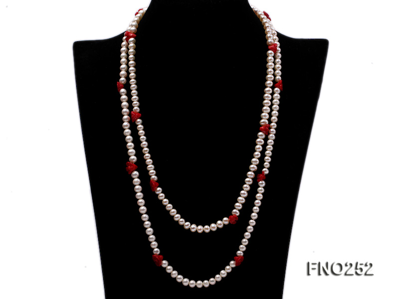 6-7mm white round  freshwater pearl and red coral flower necklace big Image 1