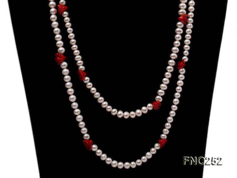 6-7mm white round  freshwater pearl and red coral flower necklace big Image 2