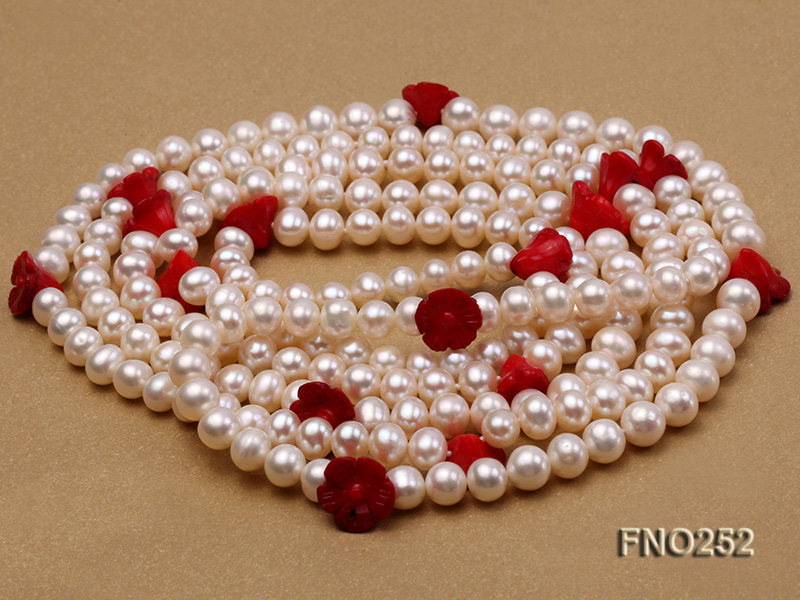6-7mm white round  freshwater pearl and red coral flower necklace big Image 4