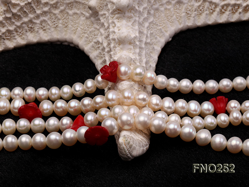 6-7mm white round  freshwater pearl and red coral flower necklace big Image 5
