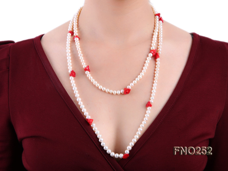 6-7mm white round  freshwater pearl and red coral flower necklace big Image 8