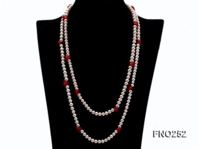 6-7mm white round  freshwater pearl and red coral flower necklace FNO252 Image 1