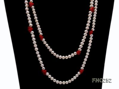 6-7mm white round  freshwater pearl and red coral flower necklace FNO252 Image 2
