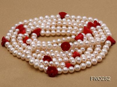 6-7mm white round  freshwater pearl and red coral flower necklace FNO252 Image 4