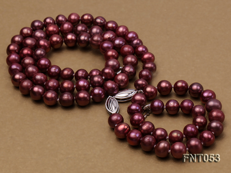 6-7mm Aubergine Freshwater Pearl Necklace, Bracelet and Earrings Set big Image 3