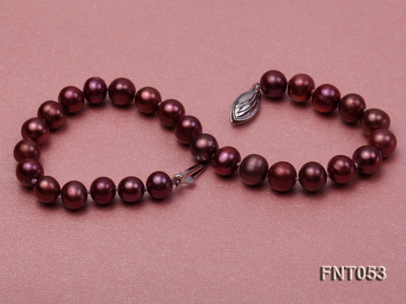 6-7mm Aubergine Freshwater Pearl Necklace, Bracelet and Earrings Set big Image 8