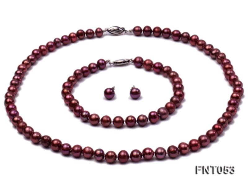 6-7mm Aubergine Freshwater Pearl Necklace, Bracelet and Earrings Set big Image 1