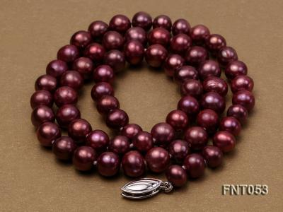 6-7mm Aubergine Freshwater Pearl Necklace, Bracelet and Earrings Set FNT053 Image 4