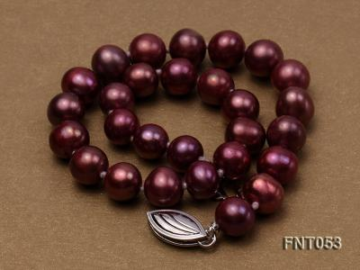 6-7mm Aubergine Freshwater Pearl Necklace, Bracelet and Earrings Set FNT053 Image 5