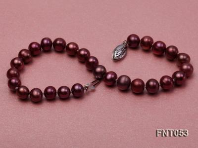 6-7mm Aubergine Freshwater Pearl Necklace, Bracelet and Earrings Set FNT053 Image 8