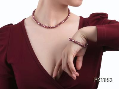 6-7mm Aubergine Freshwater Pearl Necklace, Bracelet and Earrings Set FNT053 Image 9