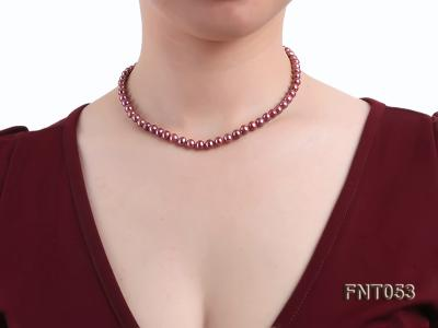 6-7mm Aubergine Freshwater Pearl Necklace, Bracelet and Earrings Set FNT053 Image 10