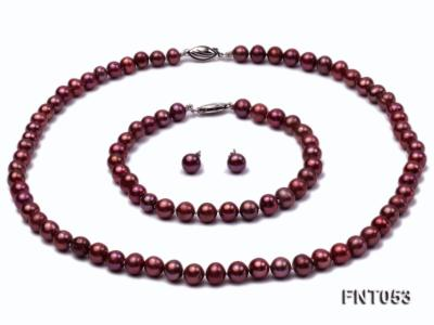 6-7mm Aubergine Freshwater Pearl Necklace, Bracelet and Earrings Set FNT053 Image 1