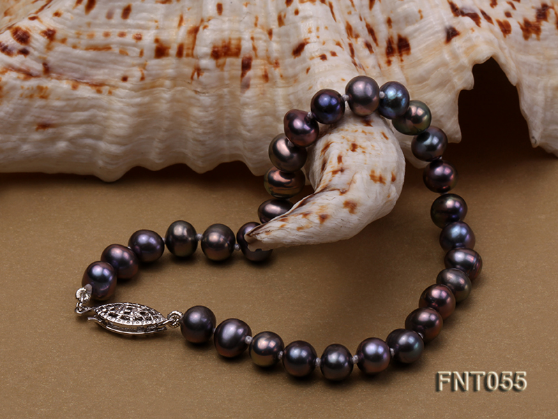 5-6mm Black Freshwater Pearl Necklace, Bracelet and Earrings Set big Image 5
