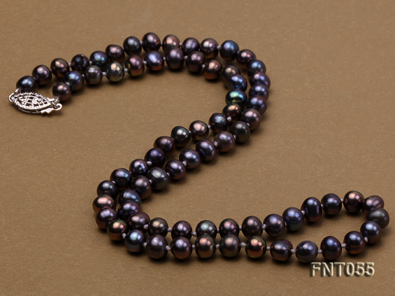 5-6mm Black Freshwater Pearl Necklace, Bracelet and Earrings Set big Image 6