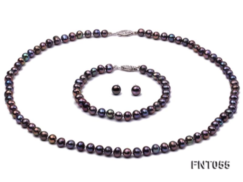 5-6mm Black Freshwater Pearl Necklace, Bracelet and Earrings Set big Image 1