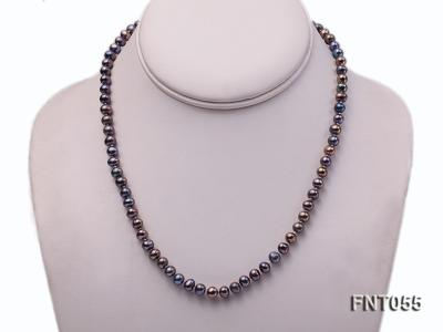 5-6mm Black Freshwater Pearl Necklace, Bracelet and Earrings Set FNT055 Image 2