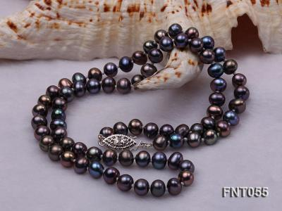 5-6mm Black Freshwater Pearl Necklace, Bracelet and Earrings Set FNT055 Image 4