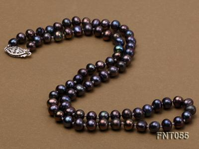 5-6mm Black Freshwater Pearl Necklace, Bracelet and Earrings Set FNT055 Image 6