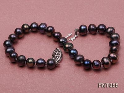 5-6mm Black Freshwater Pearl Necklace, Bracelet and Earrings Set FNT055 Image 7