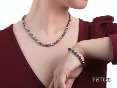 5-6mm Black Freshwater Pearl Necklace, Bracelet and Earrings Set FNT055 Image 8
