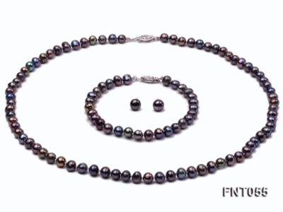 5-6mm Black Freshwater Pearl Necklace, Bracelet and Earrings Set FNT055 Image 1