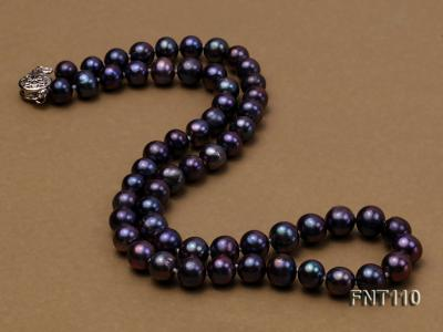 7-8mm Dark-purple Freshwater Pearl Necklace, Bracelet and Earrings Set FNT110 Image 3