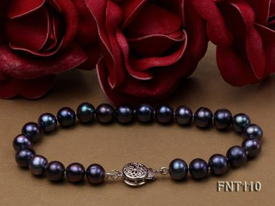 7-8mm Dark-purple Freshwater Pearl Necklace, Bracelet and Earrings Set FNT110 Image 4