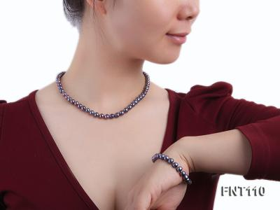 7-8mm Dark-purple Freshwater Pearl Necklace, Bracelet and Earrings Set FNT110 Image 7