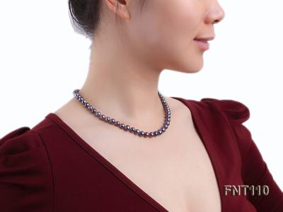 7-8mm Dark-purple Freshwater Pearl Necklace, Bracelet and Earrings Set FNT110 Image 9