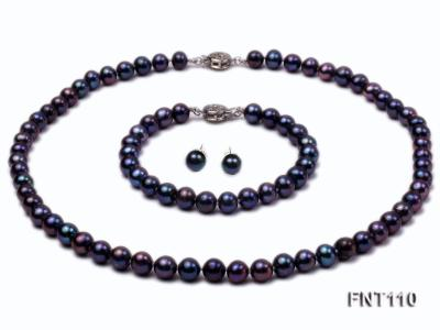 7-8mm Dark-purple Freshwater Pearl Necklace, Bracelet and Earrings Set FNT110 Image 1