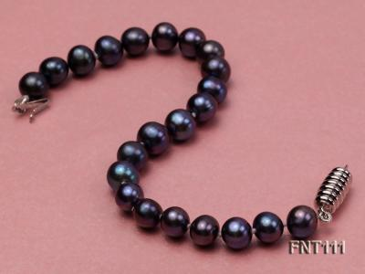 7-7.5mm Dark-purple Freshwater Pearl Necklace and Bracelet Set FNT111 Image 5
