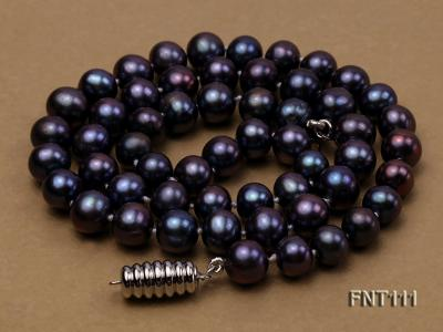 7-7.5mm Dark-purple Freshwater Pearl Necklace and Bracelet Set FNT111 Image 6