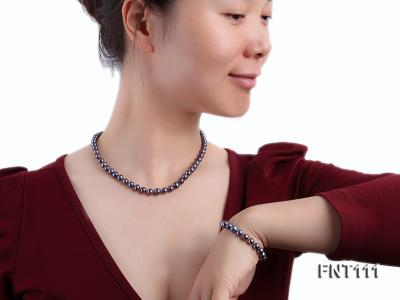 7-7.5mm Dark-purple Freshwater Pearl Necklace and Bracelet Set FNT111 Image 8