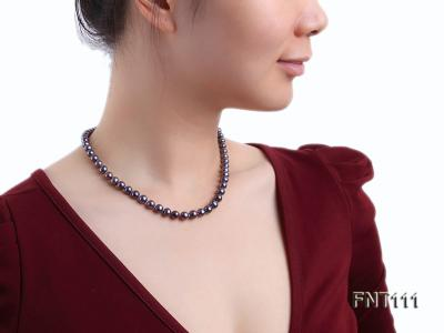 7-7.5mm Dark-purple Freshwater Pearl Necklace and Bracelet Set FNT111 Image 10