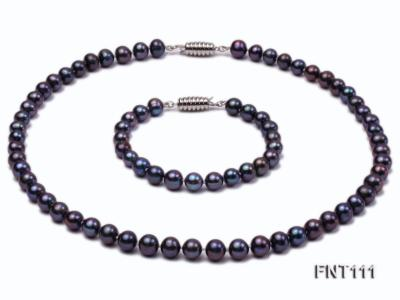 7-7.5mm Dark-purple Freshwater Pearl Necklace and Bracelet Set FNT111 Image 1