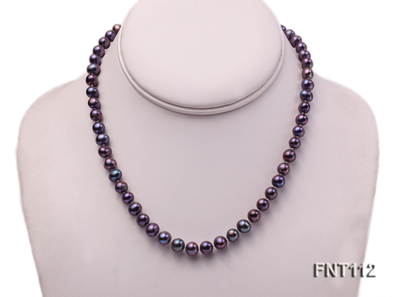 7-8mm Dark-purple Freshwater Pearl Necklace and Bracelet Set big Image 2