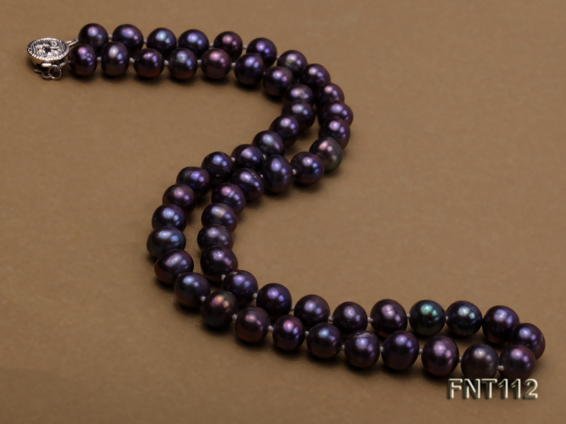 7-8mm Dark-purple Freshwater Pearl Necklace and Bracelet Set big Image 4