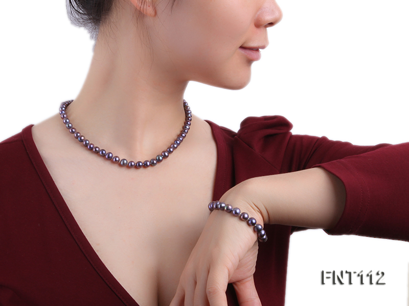 7-8mm Dark-purple Freshwater Pearl Necklace and Bracelet Set big Image 1