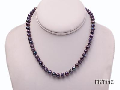 7-8mm Dark-purple Freshwater Pearl Necklace and Bracelet Set FNT112 Image 2