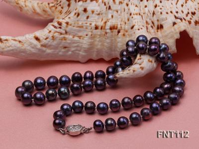 7-8mm Dark-purple Freshwater Pearl Necklace and Bracelet Set FNT112 Image 6