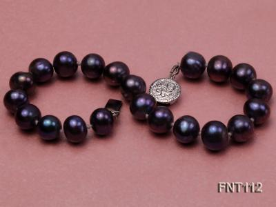 7-8mm Dark-purple Freshwater Pearl Necklace and Bracelet Set FNT112 Image 7